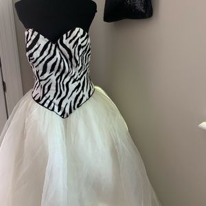 Zebra print bridal/prom dress